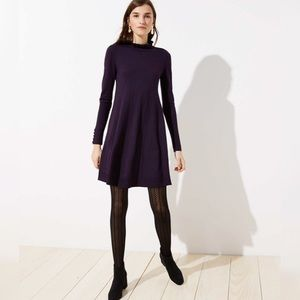 NWOT LOFT Ruffle Mock Neck Sweater Dress